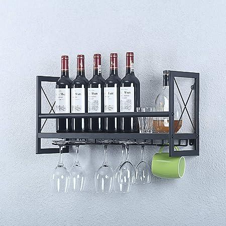 Weven Industrial Metal Wood Wine Rack Wall Mount,Rustic 2 Tier Stemware Glass Rack,Dining Wine Racks with 5 Stem Glass Holder for Wine Glasses,Mugs,Black