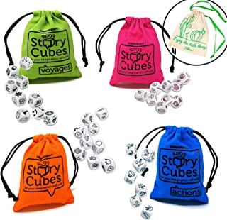 Rory's Story Cube Complete Set - Original, Actions, Voyages, Fantasia Games, & Drawstring Bag