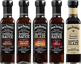Jack Daniel's - Paquete de prueba BBQ Sauces & BBQ Glaze - 5 botellas en un set (1330g) - Smooth Original, Full Flavor Smokey, Smokey Sweet, Hot Chilli, Tennessee Honey