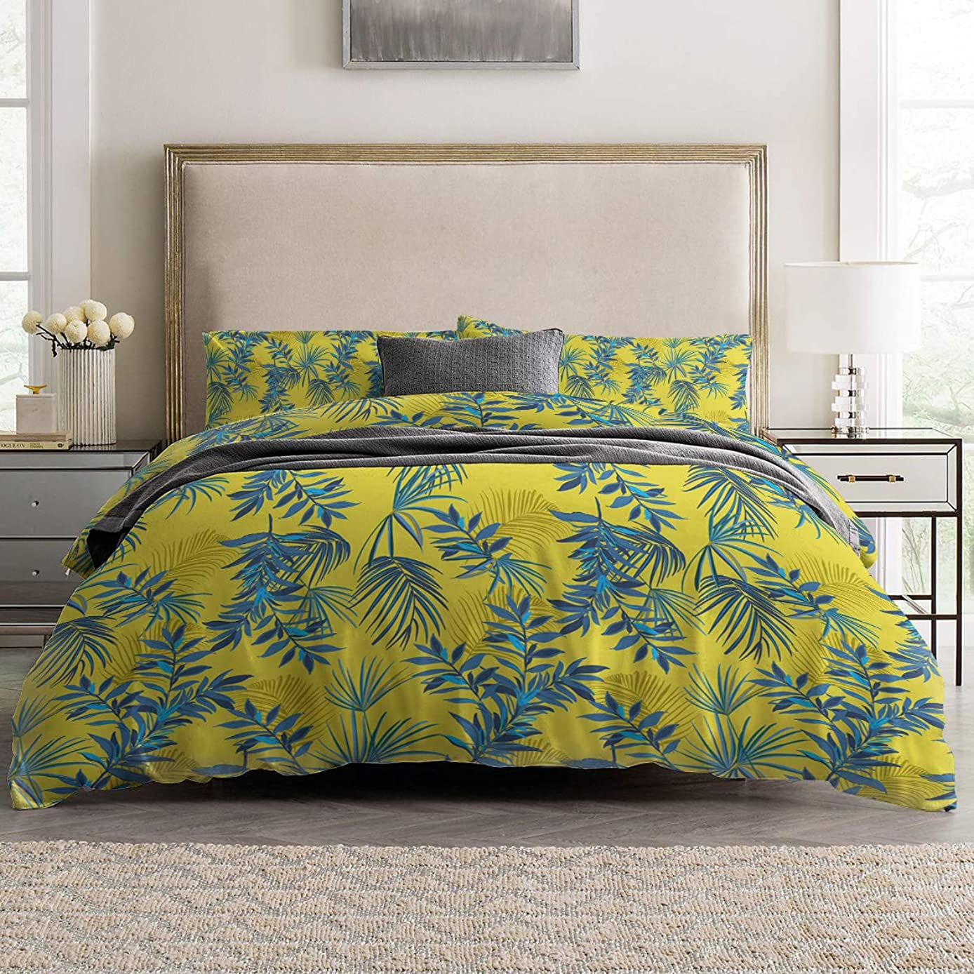 Duvet Cover Sets - Tropical Plant Leaves with Yellow Background 4 Piece Queen Bedding Sets Soft Microfiber Bedspread Comforter Cover and Pillow Shams for Adult/Children/Teens