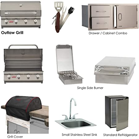Bull Outlaw Grill Liquid Propane BBQ Package with Single Side Burner, Stainless Steel Sink, Grill Cover, Refrigerator, Door/Drawer Combo, 5 in 1 BBQ Tool Set-Ams Fireplace Package Deal