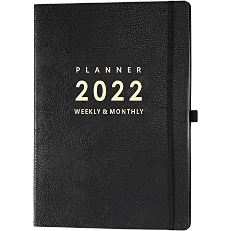 Indeme Diary A4-2022 Week to View A4 Diary, January 2022 to December 2022 Week to View Planner with Soft Black Leather Cover, 21.7 x 28.3 x 1.5 cm