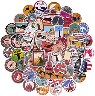 100 Pcs World Famous Tourism Country & Regions Logo Waterproof Stickers - Travel Map National Flag, for Luggage, Skateboard, Laptop, Suitcase, Book Covers, Motorcycle, Bicycle Decal (Stickers - 4)