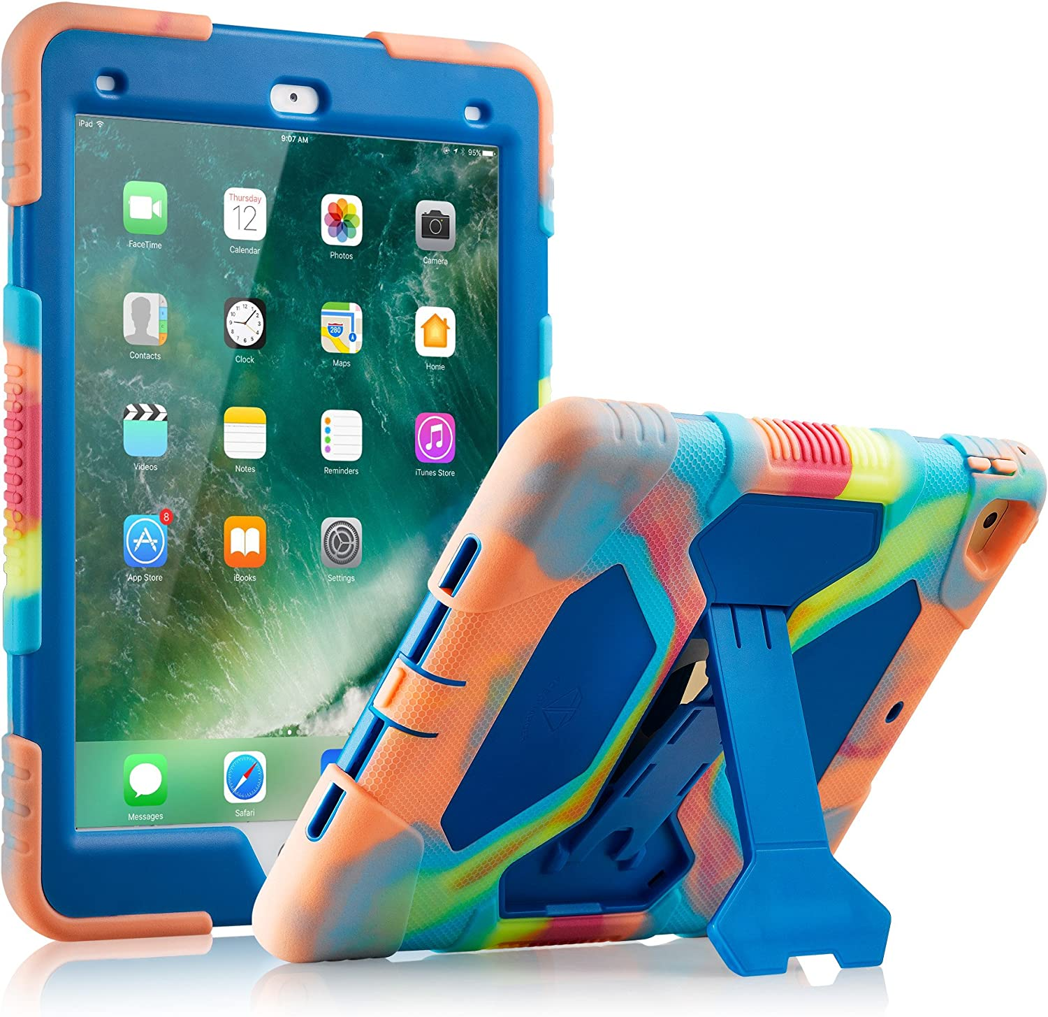iPad Air 2 Case (2014 Release) ACEGUARDER Case for iPad Air 2 Generation Heavy Duty Shockproof Rugged Cover Adjustable Stand for iPad Air 2nd Gen A1566 A1567 (Ice Blue)