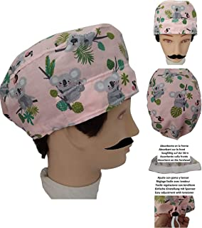 Cappello chirurgico KOALA per Capelli Corti UOMO chirurgo, dentista, veterinario, cuoco Asciugamano sulla fronte, tenditor...