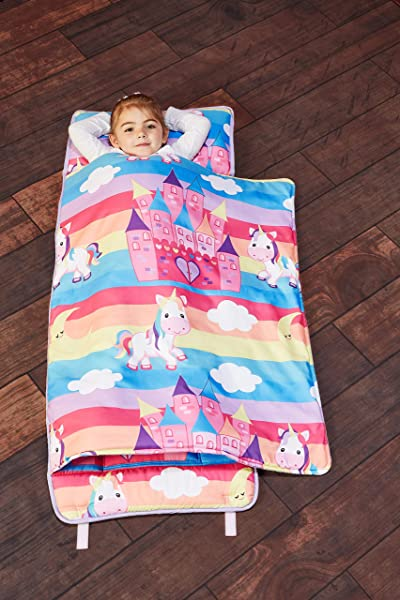 EVERYDAY KIDS Toddler Nap Mat With Removable Pillow Unicorn Dreams Carry Handle With Straps Closure Rollup Design Soft Microfiber For Preschool Daycare Travel Sleeping Bag Ages 3 6 Years