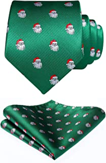 HISDERN Christmas Tie for Men, Holiday Season Party Necktie & Pocket Square Set