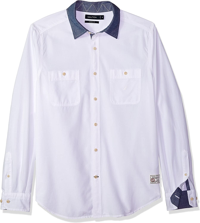 Nautica Camisa de Manga Larga Chambray con Botones