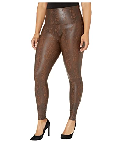 Spanx Plus Size Faux Leather Snakeskin Leggings (Brown Snakeskin) Women