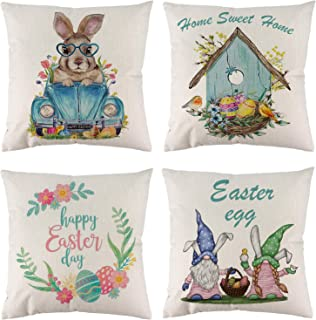 Allorry Easter Pillow Covers,Easter Eggs Gnomes Bunny Pickup Truck Farmhouse Pillow Cases 18x18 Inches, Easter Eggs Nest C...