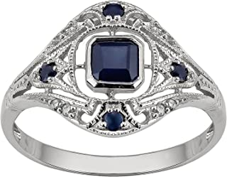 10k White Gold Vintage Style Genuine Sapphire and Diamond Ring