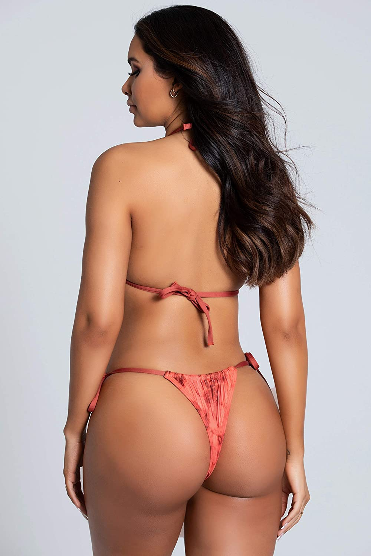 Yandy Tie Dye Print Adjustable Crotch Panel Tie Sides Thong Cut Swimwear Bikini Bottom