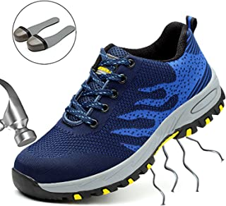 SUADEX Womens Steel Toe Shoes, Men's Work Safety Industrial and Construction Shoes, Outdoor Hiking Trekking Trail Composite Sneakers