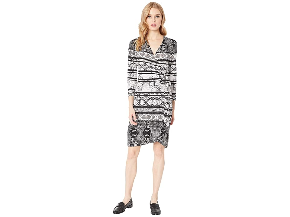 BCBGMAXAZRIA Adele Printed Wrap Dress (Black/Combo) Women