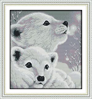 Cross Stitch Kits, Two Little Polar Bears Animals Awesocrafts Easy Patterns Cross Stitching Embroidery Kit Supplies Christmas Gifts, Stamped or Counted (Bears, Stamped)
