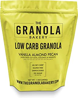 Granola Bakery -Vanilla Almond Low Carb Granola - 4g Net Carb, 1.5lb Bulk Bag, Low Sugar Keto Oatmeal, Gluten Free Nut Cereal, Diabetic Friendly, Natural Ingredients Only