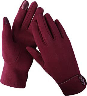 Aibrou Womens Winter Gloves Fleece with Touch Screen Fingers Warm Texting Mittens