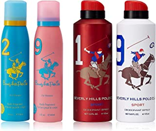 Beverly Hills Polo Club No. 2 + 9 Deodorant For Women, 150ml (Pack Of 2) and Beverly Hills Polo Club 1 + 9 Deodorant For Men, 175ml (Pack Of 2)