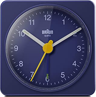 Braun klassisk analog reseväckarklocka, kompakt storlek, tyst kvartsurverk, crescendo-alarm i blått, modell BC02BL