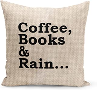 Coffee Books Pillow Beige Linen Pillow with Black Foil Print Reading Couch Pillows