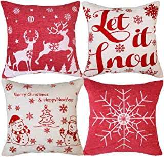 sykting Christmas Pillow Covers Cushion Covers 18x18 inch for Couch Sofa Home Holiday Decorative Soft Chenille Santa Clause Set of 4