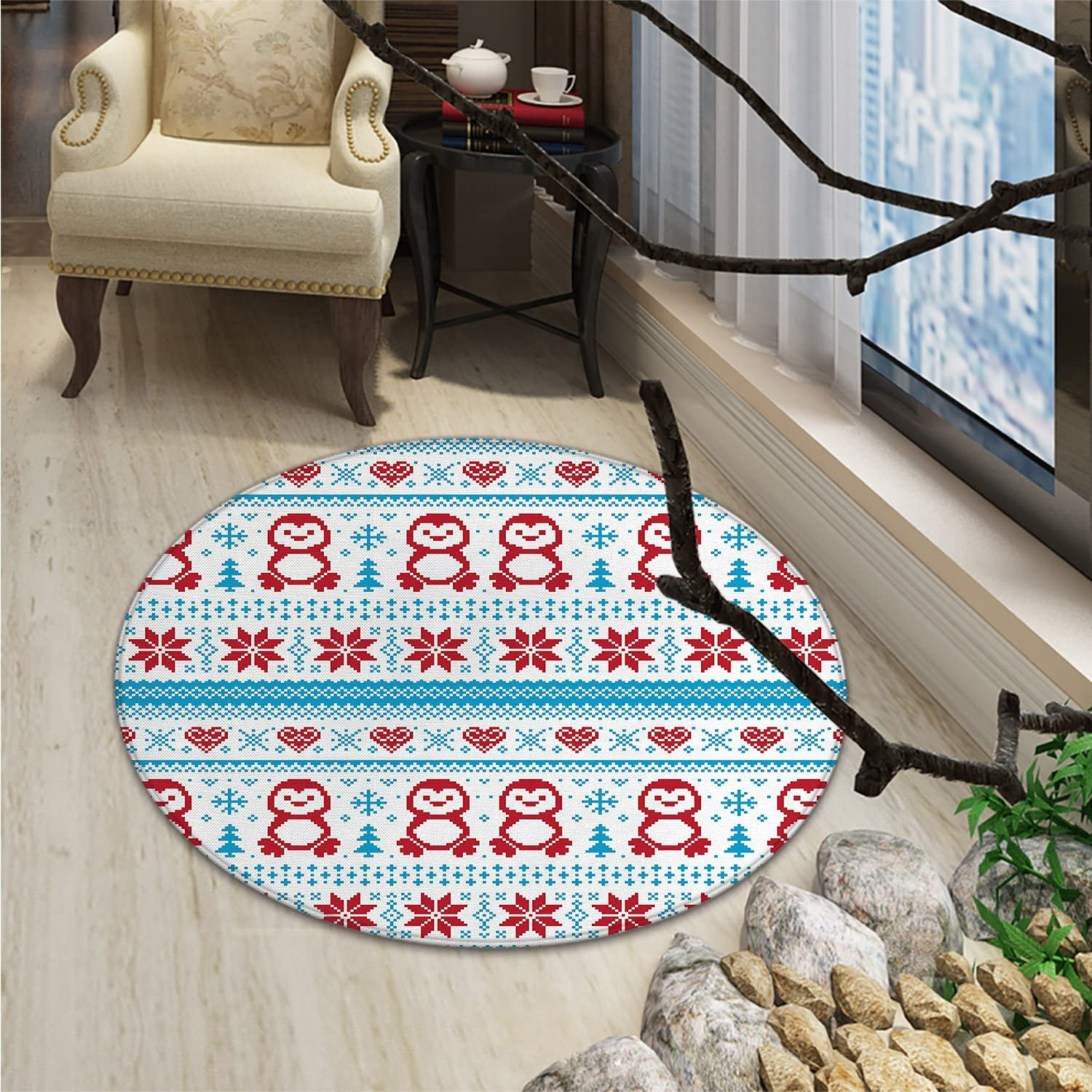 Nordic Print Rug Ornate Penguins with Hearts Abstract Nature Elements Trees SnowflakesOriental Floor and Carpets Ruby Pale bluee White