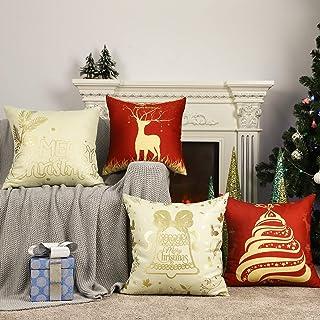 Lewondr Christmas Throw Pillow Cover, Set of 4 Xmas Decorative Throw Pillow Case Linen Sofa Cushion Cover with Hot Stampin...