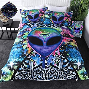 Trippy Alien by Brizbazaar Psychedelic Bedding Colorful Alien Abstract Art Duvet Cover 3 Pieces Outer Space Bed Set (Twin)