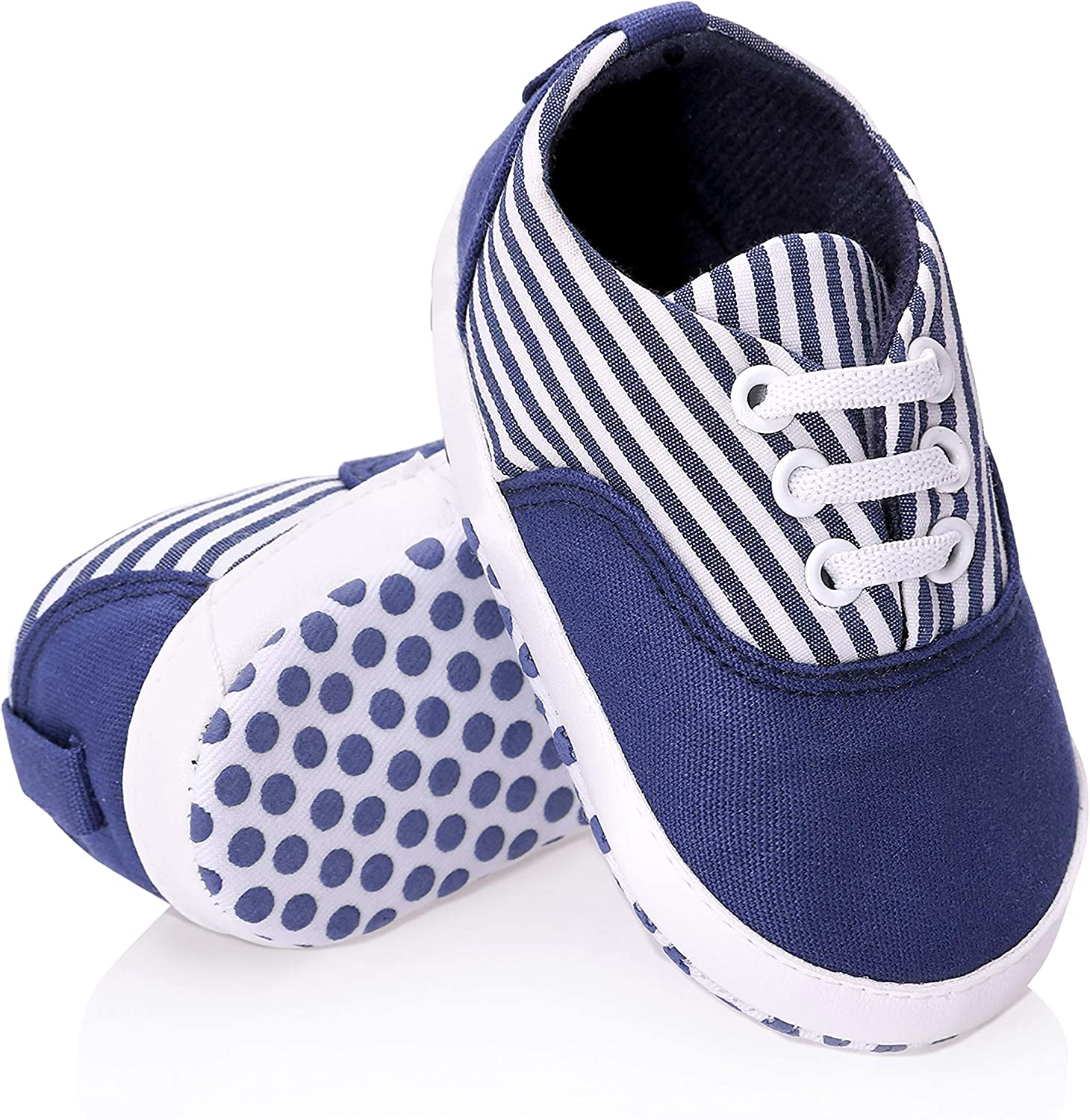 FNOVCO Unisex Baby Sneakers Toddler Boys Girls Anti-Slip First Walkers Canvas Shoes 0-24 Months