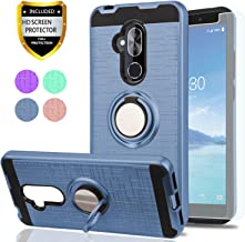 YmhxcY for Alcatel 7 Case, [Revvl 2 Plus] Case (T-Mobile), Alcatel 7 Folio Case with HD Screen Protector, 360 Degree Rotating Ring & Bracket Dual Layer Shock Bumper Cover Alcatel 7-ZH Metal Slate