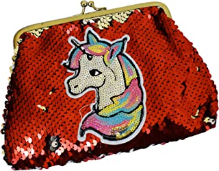 Aarvi Girls Latest and Unique Unicorn Sequins Handbag for Girls Birthday Gifts (Red)