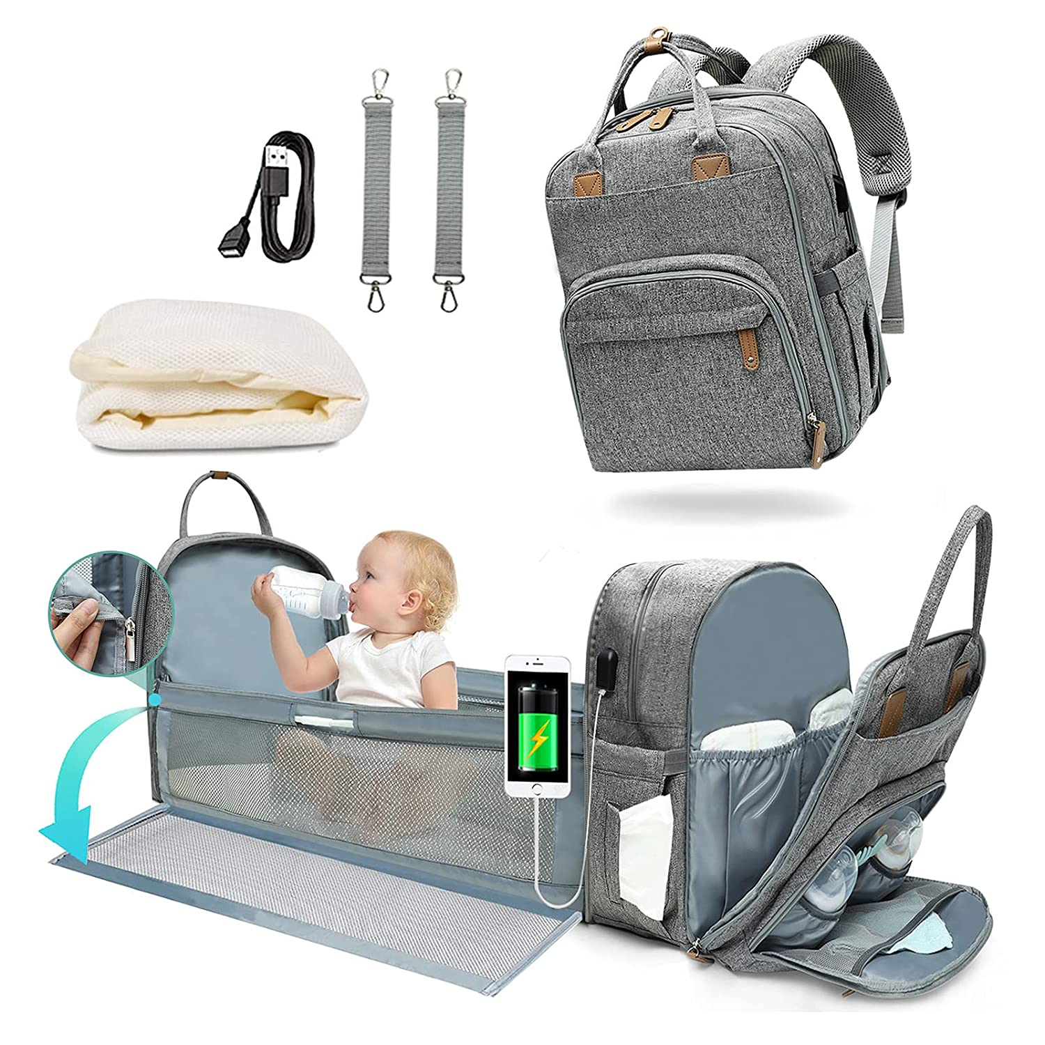 Diaper Bag Backpack with Changing Station Mominside 3 in 1 Baby Bag with 20 Pockets Detachable Foldable Bassinet Bed Mommy Bag 4 Insulated Pockets, Stroller Straps, USB Charging Port Grey
