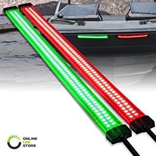 Red and Green LED Single/Dual Row Marine Navigation Light Strip Kit [66/132 LEDs Per Strip] [IP68 Waterproof] [Flexible Housing] Bow Lighting for Kayak Pontoon Bass Fishing Boat
