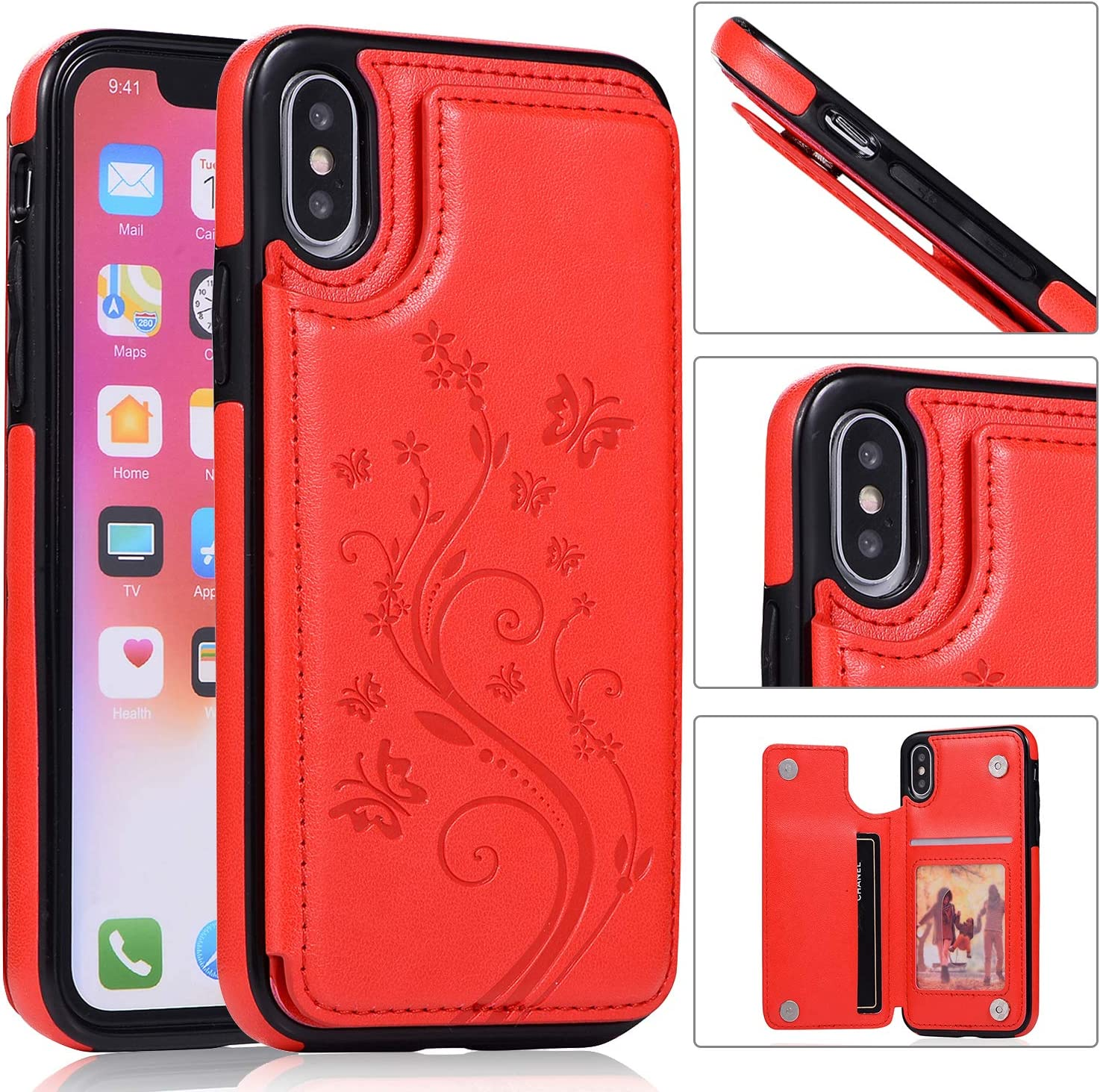 Back Wallet Case for iPhone Choice X QFFUN Stand latest with Elegant Emboss XS