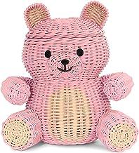 G6 COLLECTION Large Bear Rattan Storage Basket with Lid Decorative Bin Home Decor Hand Woven Shelf Organizer Cute Handmade...