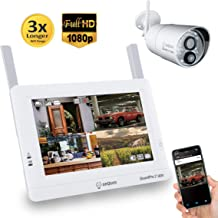 Sequro GuardPro2 1080P Long Range Security Camera System Wireless with 7-inch Touchscreen Monitor, 4CH NVR Kit and Night Vision 2.0MP Camera with PIR Sensor