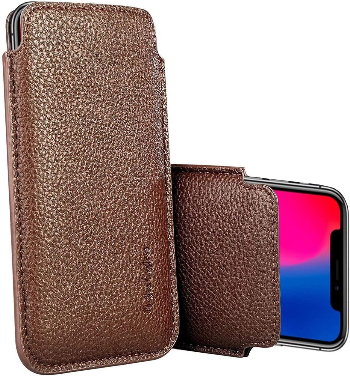 """Apple iPhone XR/iPhone 11 Sleeve, Modos Logicos Synthetic Leather Protective Sleeve Pouch Case for iPhone XR/iPhone 11 6.1"""", Professional Executive Case Design with Elastic Pull Strap - Brown"""
