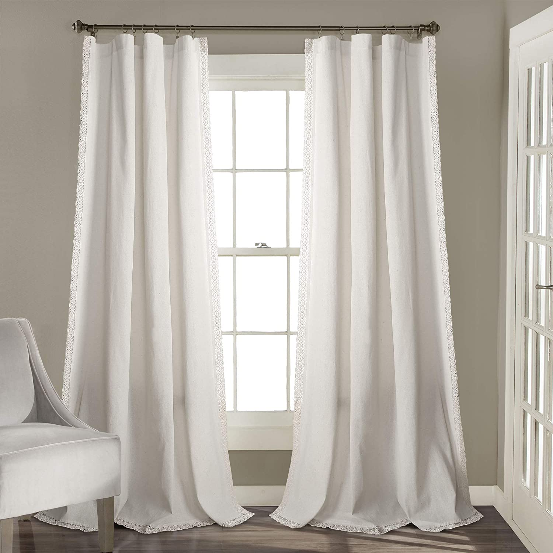 Lush Decor pinklie Window Curtain Panel Pair, 84  x 54 , White