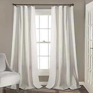 "Lush Decor Rosalie Window Curtains Farmhouse, Rustic Style Panel Set for Living, Dining Room, Bedroom (Pair), 120"" x 54"" White, 120"