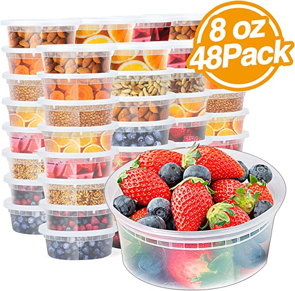 Glotoch 8oz Plastic Containers With Lids Leakproof Slime Deli Food Storage Soup Meal Prep Containers BPA Free Stackable And Reusable Freezer Dishwasher Microwave Safe 1Cup 48Pack