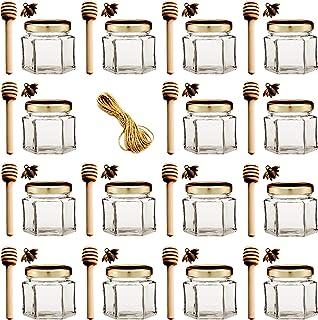 65 honey jar favors with dippers,mini honey dipper,mini mason jar,glass clear jar,1.5 oz jars,mini dippers,honey favors,bulk jars,honey pot