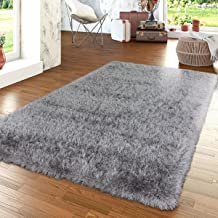 Paco Home Shag Rug High Pile in Grey for Bedroom & Living Room Fluffy Glossy Pastel Yarn, Size:5'3