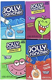 Jolly Rancher Drink Mix Singles To Go Variety Pack of 4 Flavors (1 of each flavor, Total of 4)