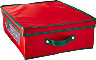 Household Essentials 538RED Holiday China Dinnerware Storage Chest for Coffee Mugs   Removable Lid   Red Canvas with Green Trim