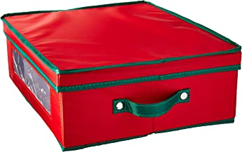 Household Essentials 538RED Holiday China Dinnerware Storage Chest for Coffee Mugs | Removable Lid | Red Canvas with Green...