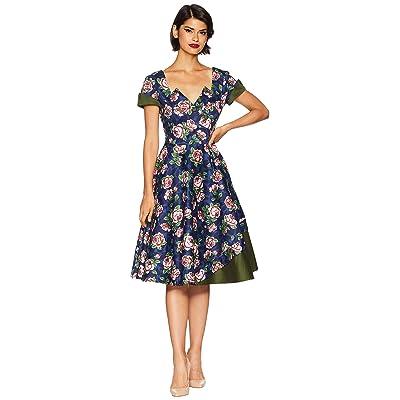 Unique Vintage 1950s Style Slauson Swing Dress (Navy/Pink Floral) Women