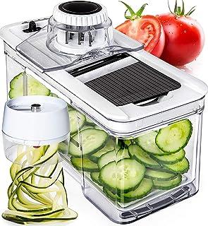 Adjustable Mandoline Slicer with Spiralizer Vegetable Slicer – Black Veggie Slicer..