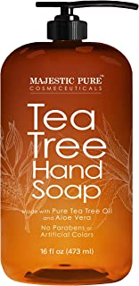Majestic Pure Tea Tree Hand Soap - Liquid Hand Wash with Pure Aloe Vera, Rosemary & Spearmint - Hand Wash with Pump - Sulf...