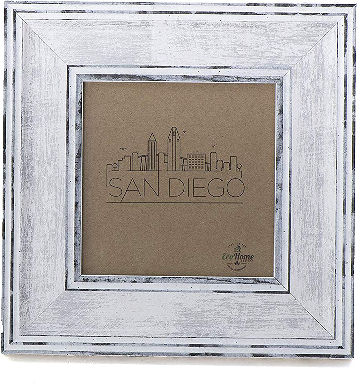 4x4 Picture Frame Distressed White - Mount Desktop Display, Inst