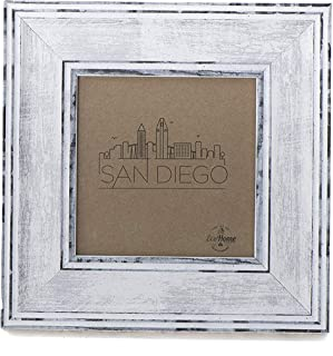 4x4 Picture Frame Distressed White - Mount Desktop Display, Instagram Prints Frames by EcoHome